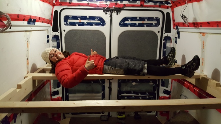 Bed framing in the Ram Promaster van conversion