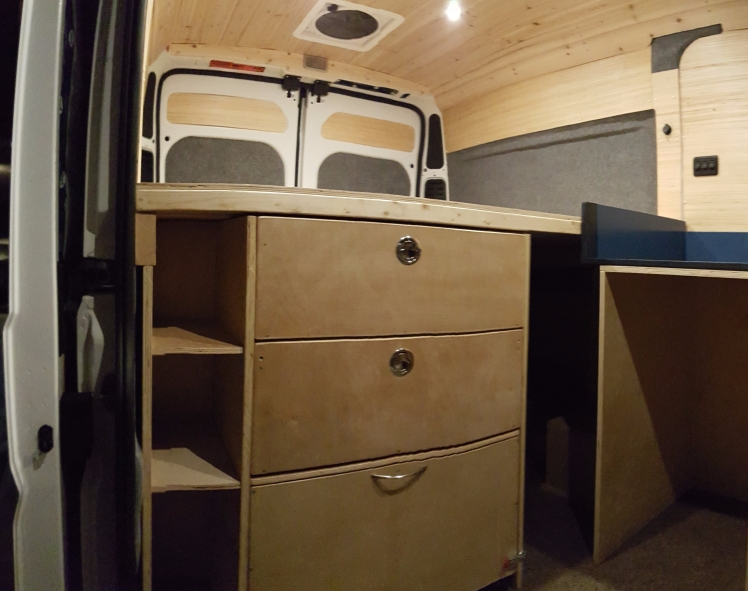 Bed drawers in the Ram Promaster van conversion