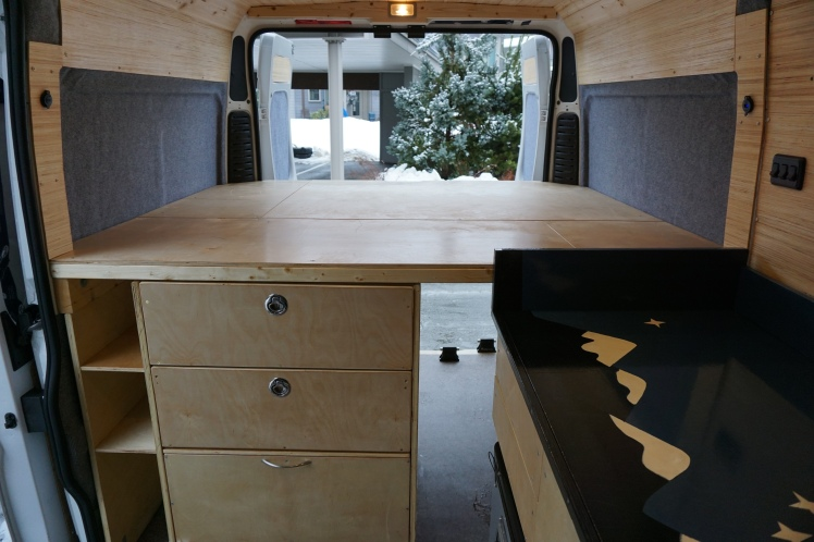 The Ram Promaster van conversion Ready to roll (minus the bed mattress)