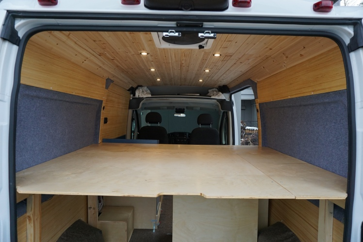 Bed platform ready for some good rest in the Ram Promaster van conversion