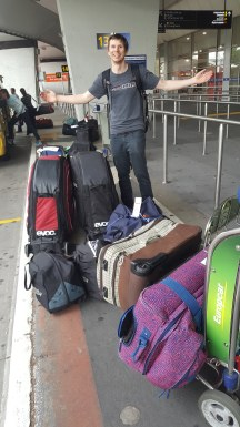 Landed at Melbourne Airport with all our Bikes and Bags...Shane's pretty stoke to have made it