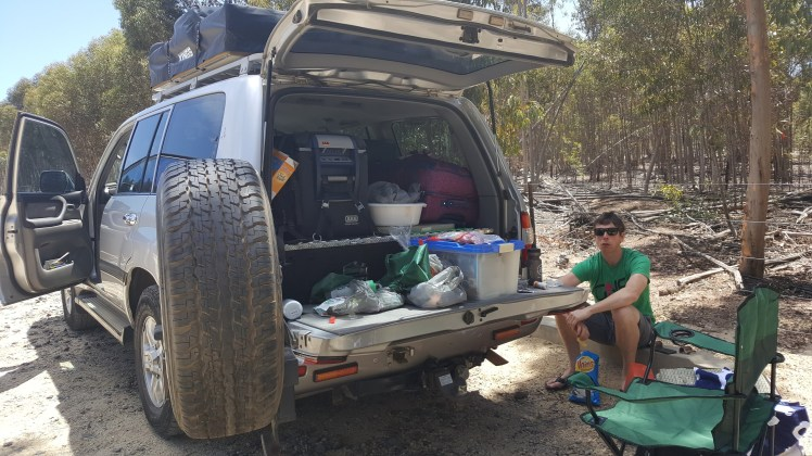 Car full of camping stuff at you Yangs Mountain bike park