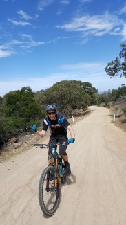 Climbing up the road at You Yang Mountain bike park