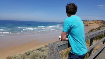 Shane checking the surf at Jun Jac beach