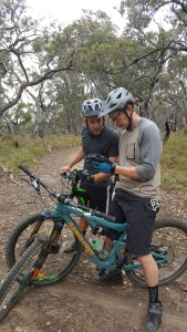 Shane and Simo Using TrailForks at Anglesea to find the way