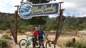 Shane and Kate at the Blue Derby Mountain bike park entrance